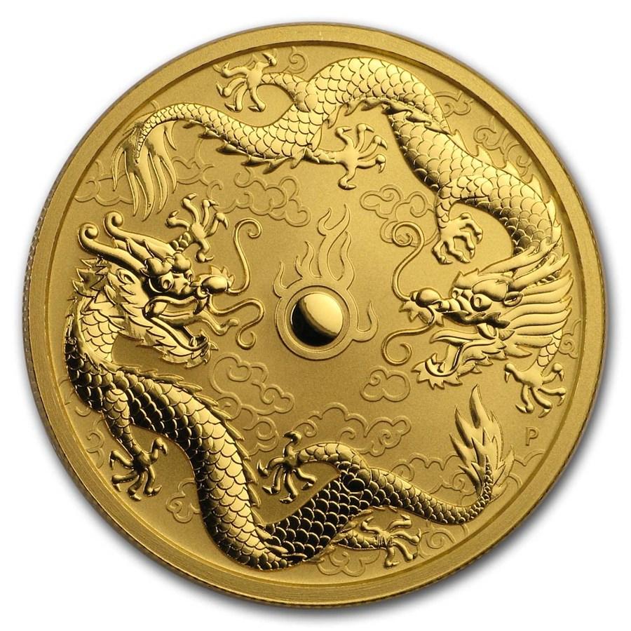 2020 Australia 1 oz Gold Double Dragon BU