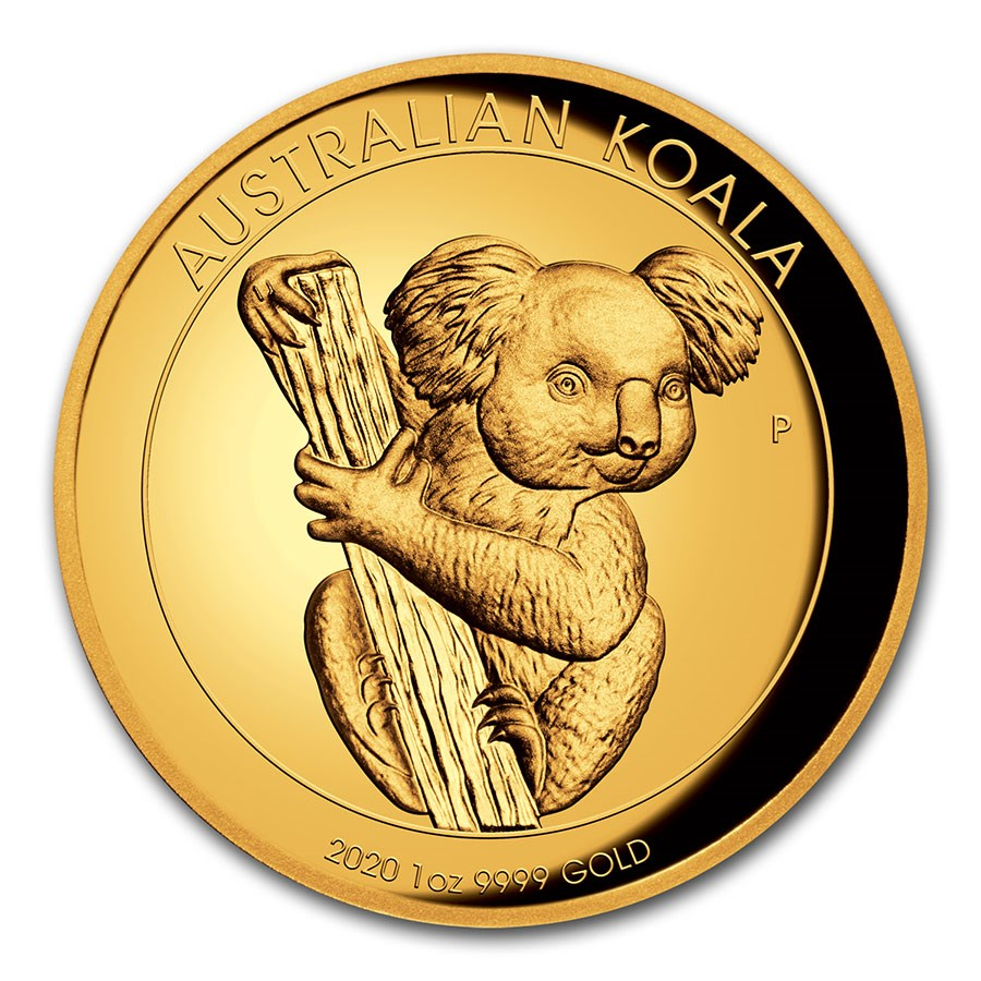 2020 Australia 1 oz Gold Koala Proof (High Relief, Box & COA)