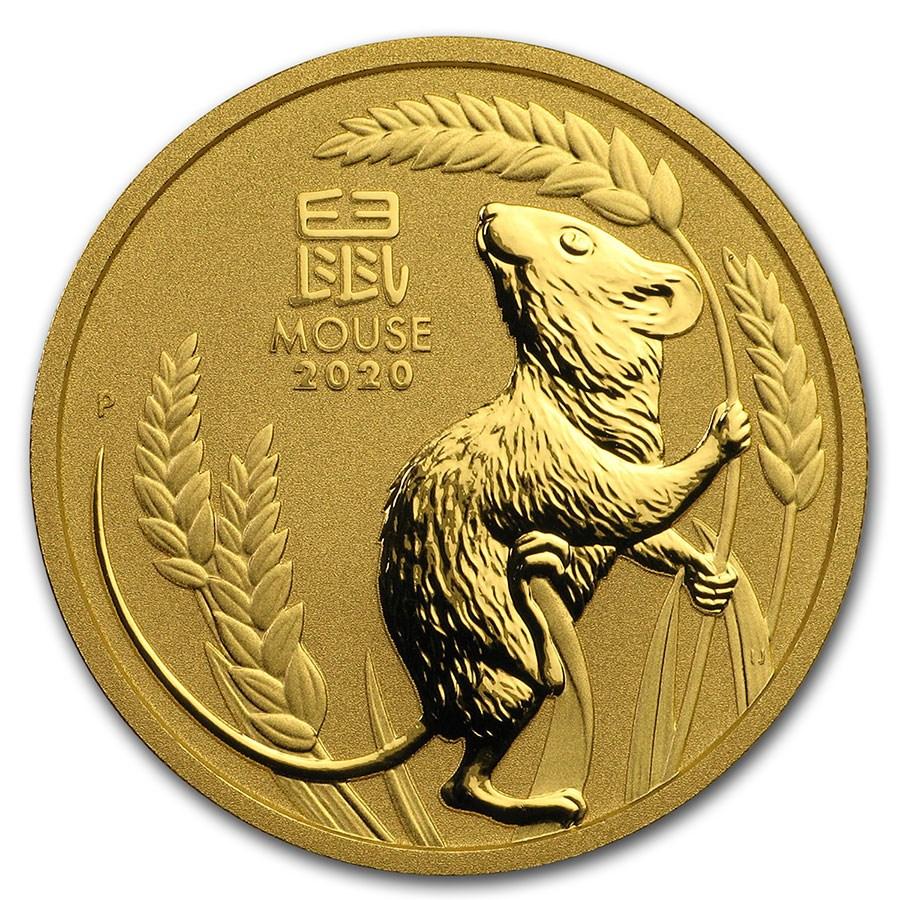 2020 Australia 1 oz Gold Lunar Mouse BU (Series 3)
