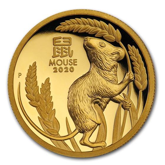 2020 Australia 1 oz Gold Lunar Mouse Proof (HR, Box & COA)
