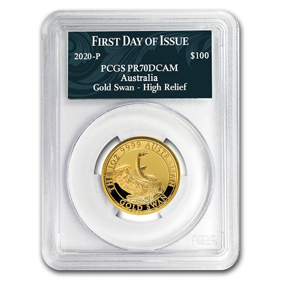 2020 Australia 1 oz Gold Swan COA #3 PR-70 PCGS (FD)