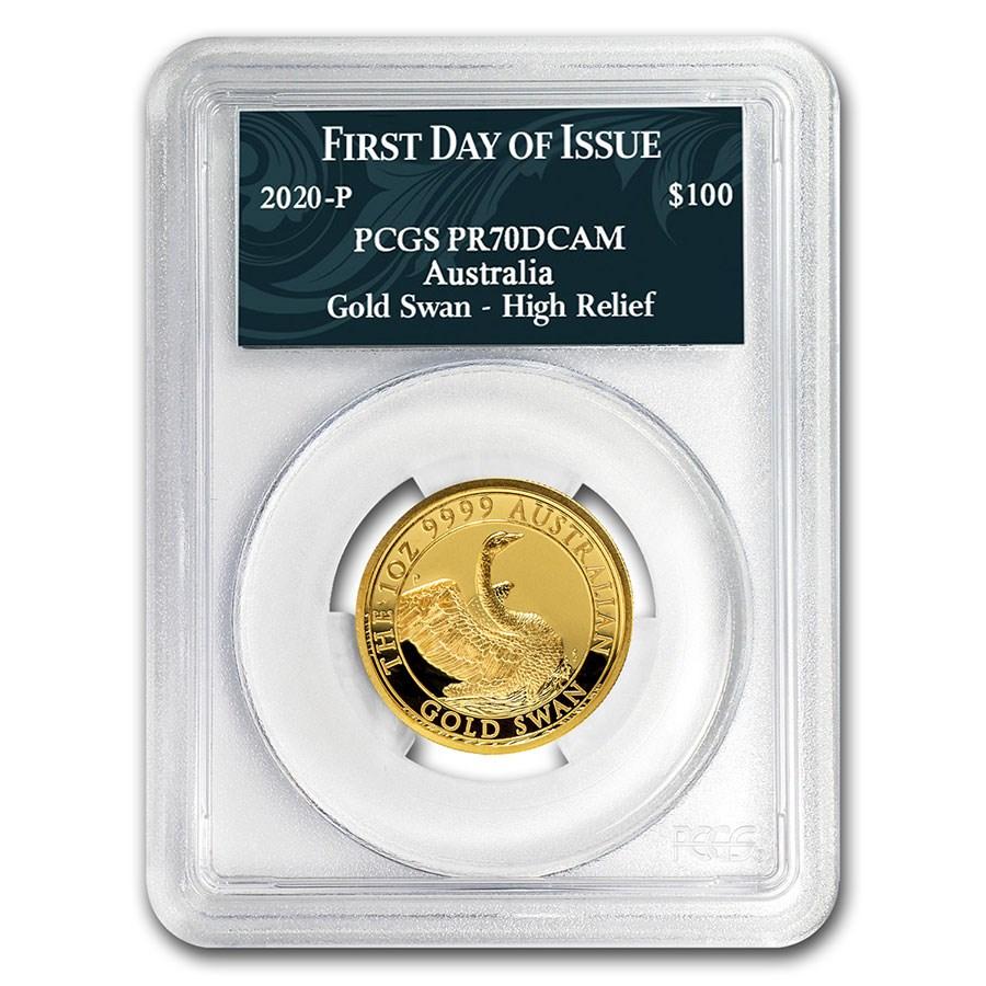 2020 Australia 1 oz Gold Swan COA #7 PR-70 PCGS (FD)