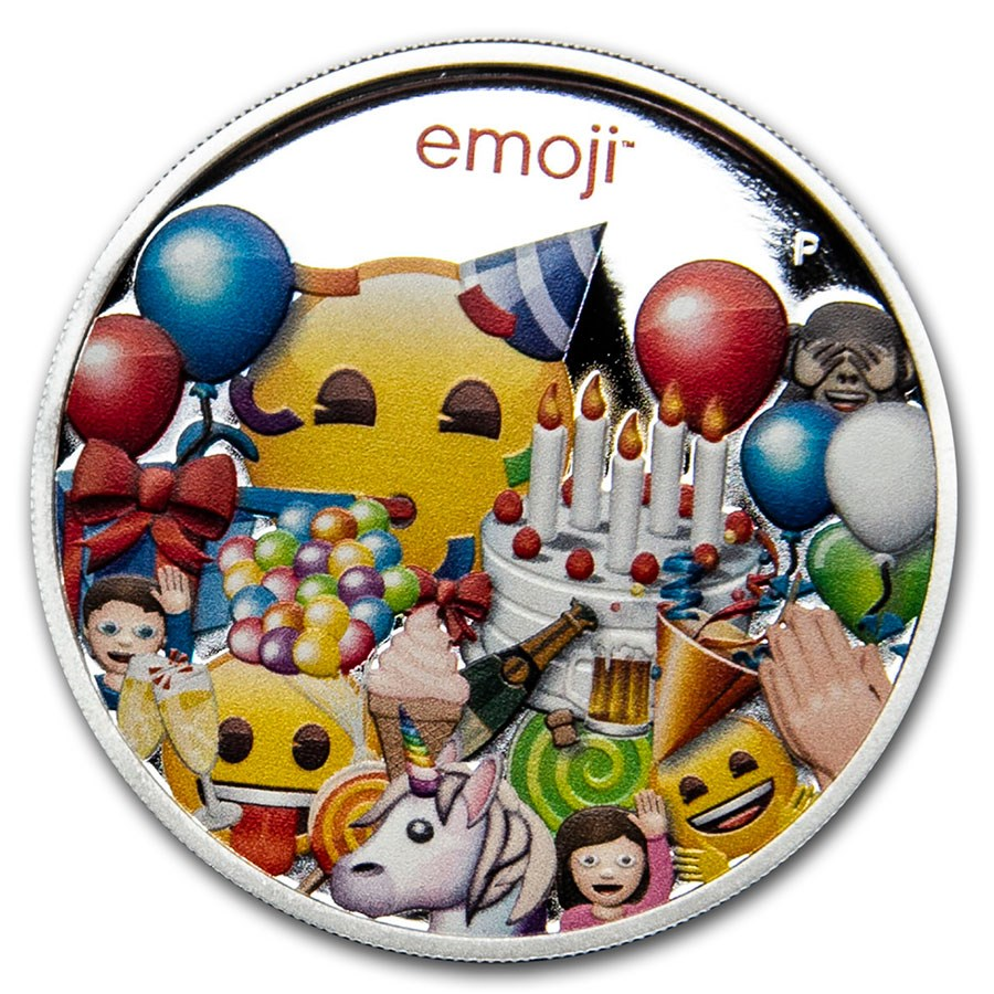 2020 Australia 1 oz Silver $1 emoji™ Celebration Proof