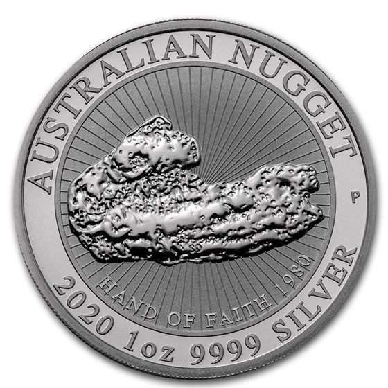 "2020 Australia 1 oz Silver ""Hand of Faith"" Nugget BU"