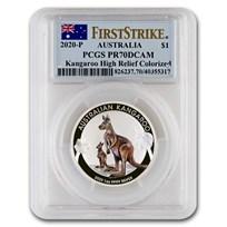 2020 Australia 1 oz Silver Kangaroo Colorized PR-70 PCGS FS