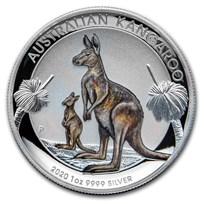 2020 Australia 1 oz Silver Kangaroo Colorized Proof (High Relief)