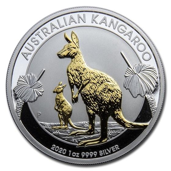 2020 Australia 1 oz Silver Kangaroo Proof (Gilded)