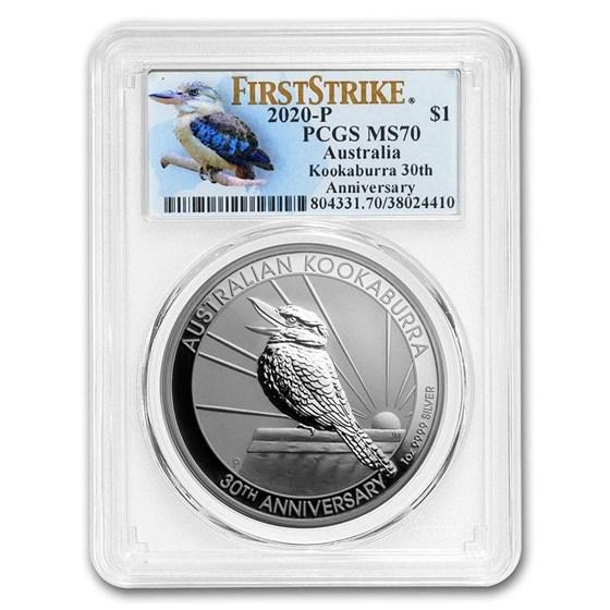 2020 Australia 1 oz Silver Kookaburra MS-70 PCGS (FS, Kook Label)