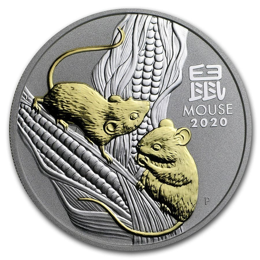 2020 Australia 1 oz Silver Lunar Mouse (Gilded, w/Capsule & COA)
