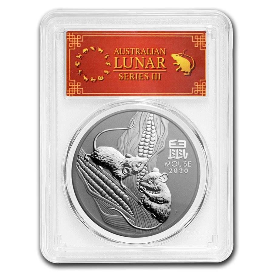 2020 Australia 1 oz Silver Lunar Mouse MS-70 PCGS (FS, Red Label)