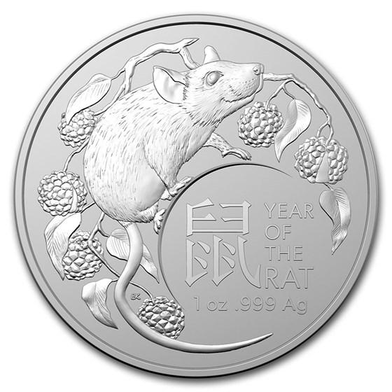 2020 Australia 1 oz Silver Lunar Year of the Rat BU