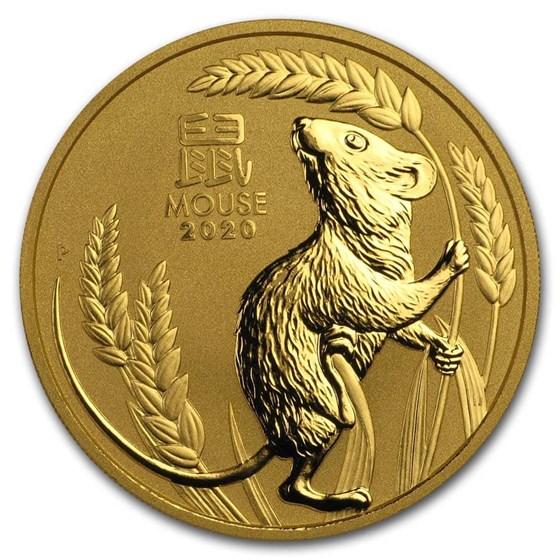 2020 Australia 2 oz Gold Lunar Mouse BU (Series 3)
