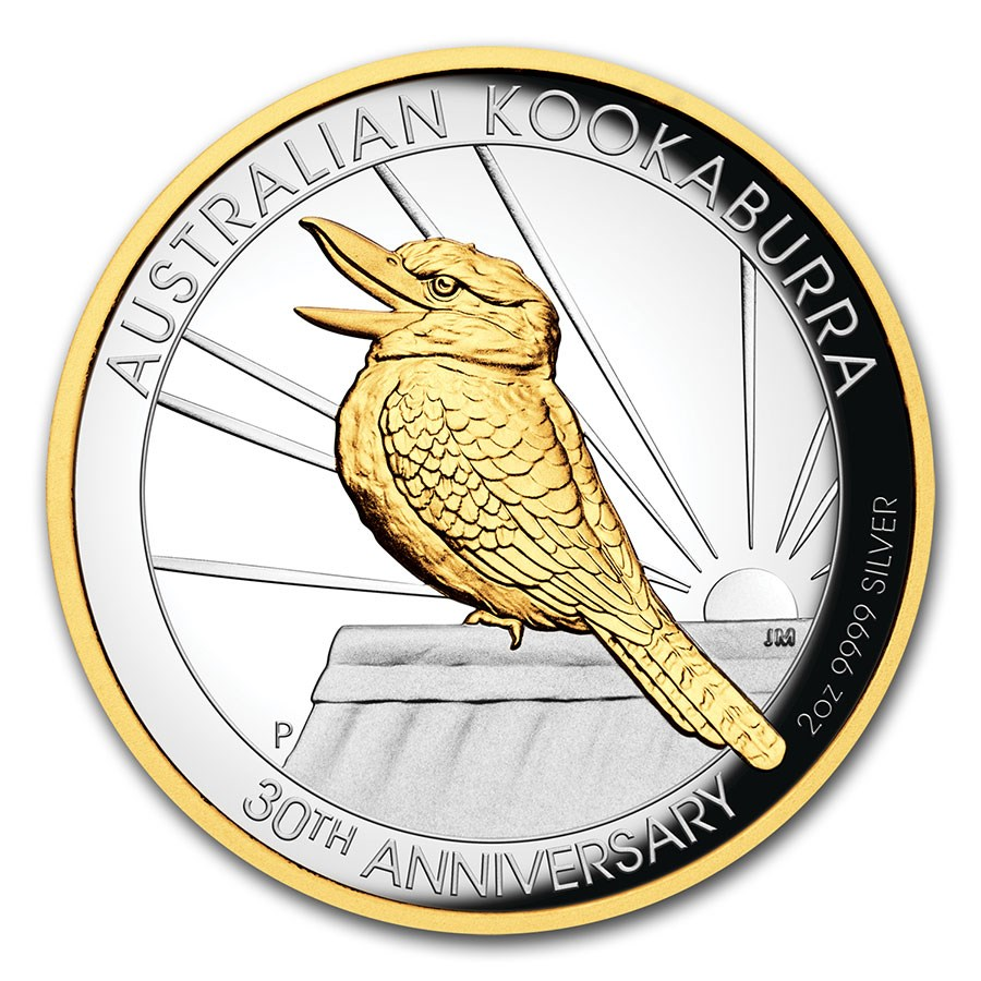 2020 Australia 2 oz Silver Gilded Kookaburra Proof (High Relief)