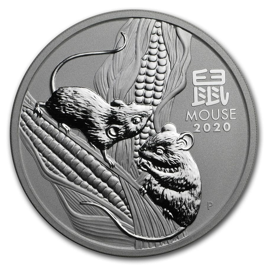 PM Lunar Series III 2020 Year of the Mouse 2oz .9999 Silver Bullion Coin