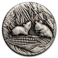 2020 Australia 2 oz Silver Year of the Mouse Antiqued
