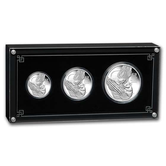 2020 Australia 3-Coin Silver Lunar Mouse Proof Set (w/box & COA)