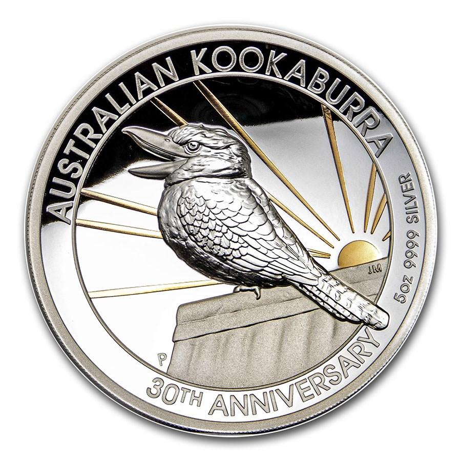 2020 Australia 5 oz Silver 30th Anniv Kookaburra Proof (Gilded)