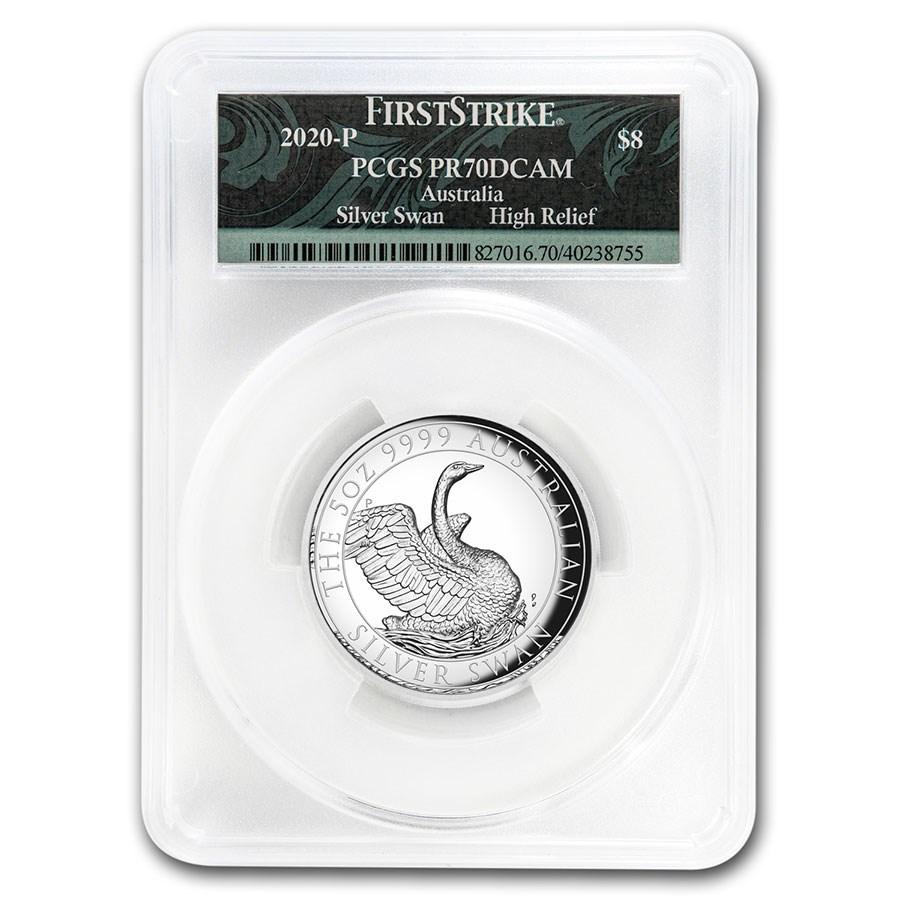 2020 Australia 5 oz Silver Swan PR-70 PCGS (FS, Swan Label)