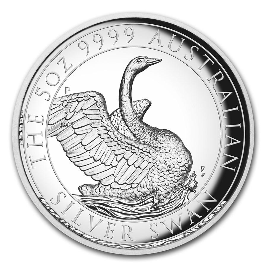 2020 Australia 5 oz Silver Swan Proof (High Relief, w/Box & COA)