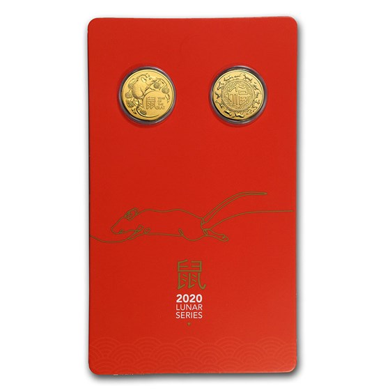 2020 Australia Uncirculated Lunar Year of the Rat Two-Coin Set