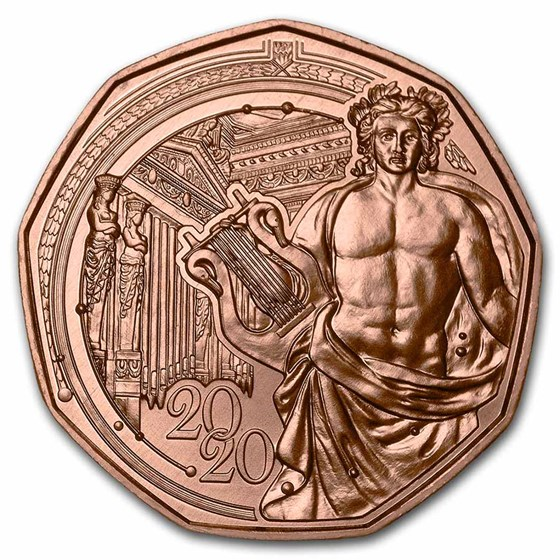 2020 Austria Copper €5 New Year's 150th Anniversary Musikverein