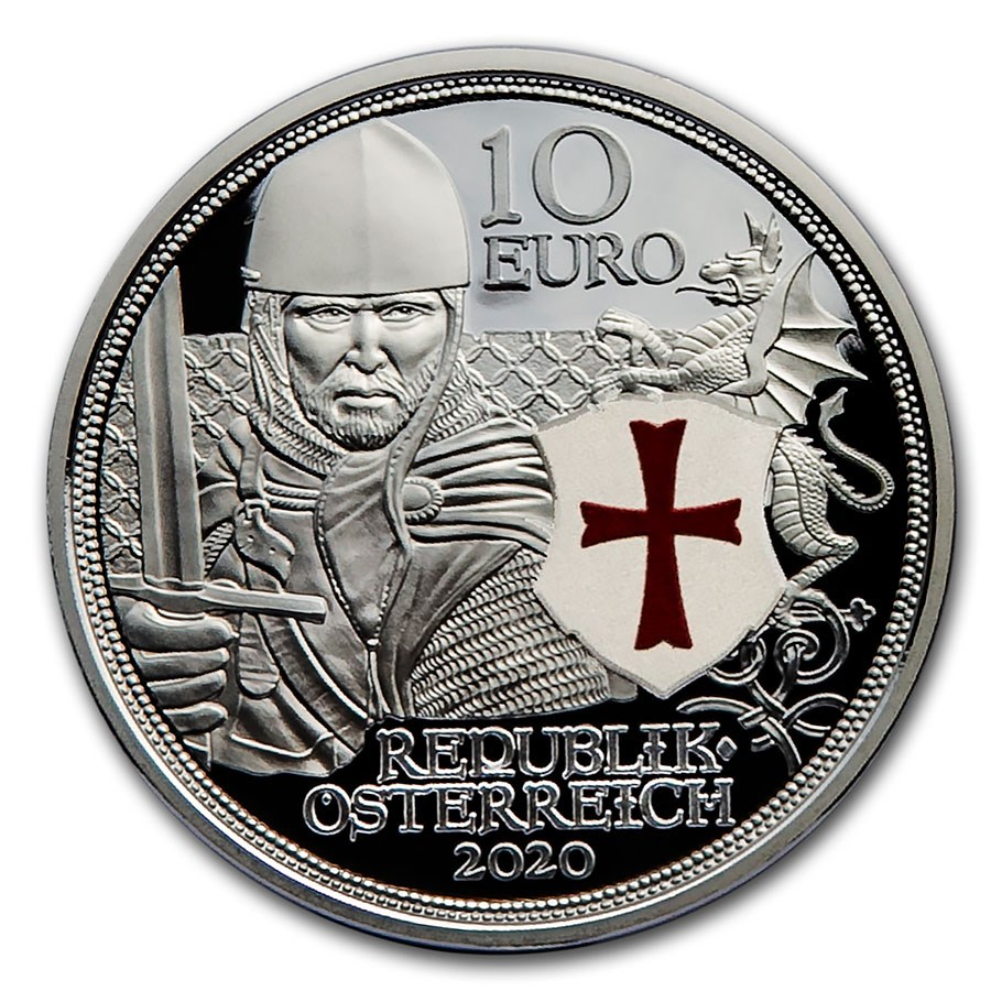 2020 Austria Proof Silver €10 Knights' Tales (Courage)