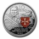 2020 Austria Proof Silver €10 Knights' Tales (Fortitude)