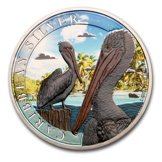 2020 Barbados 1 oz Silver and 1 gram Gold Tropical Pelican Set