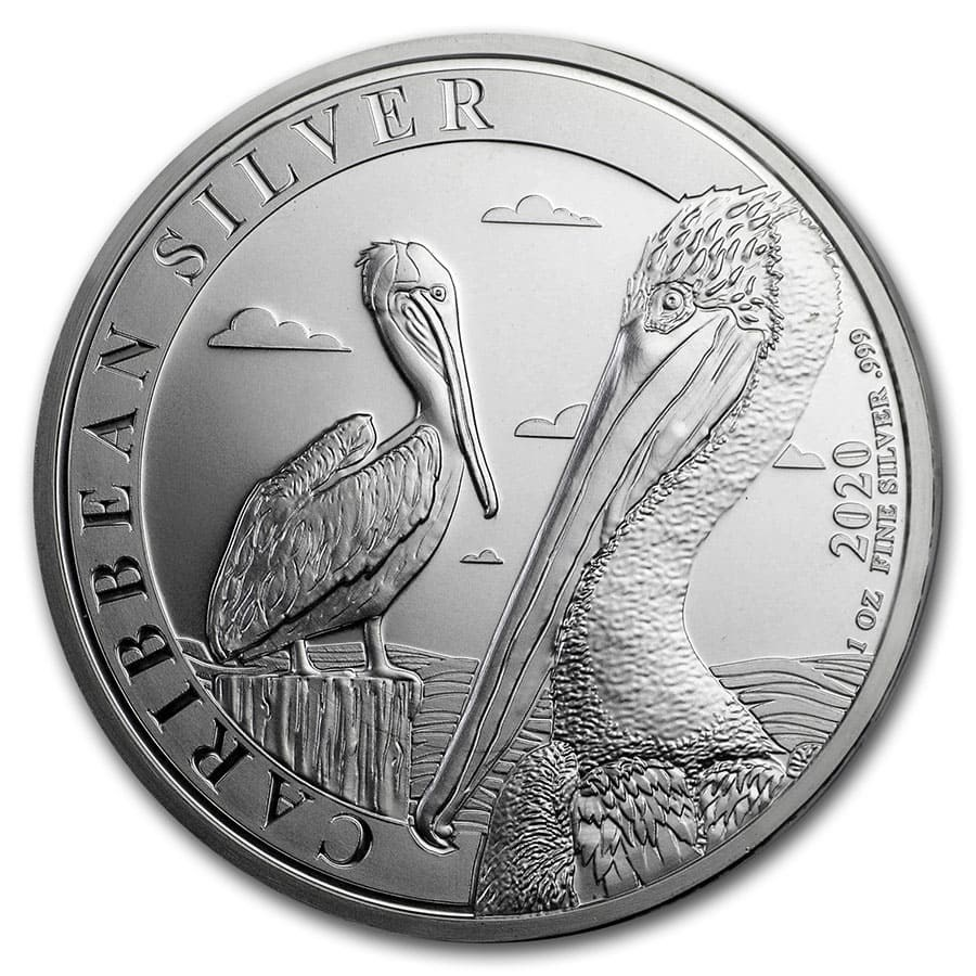 2020 Barbados 1 oz Silver Caribbean Pelican BU