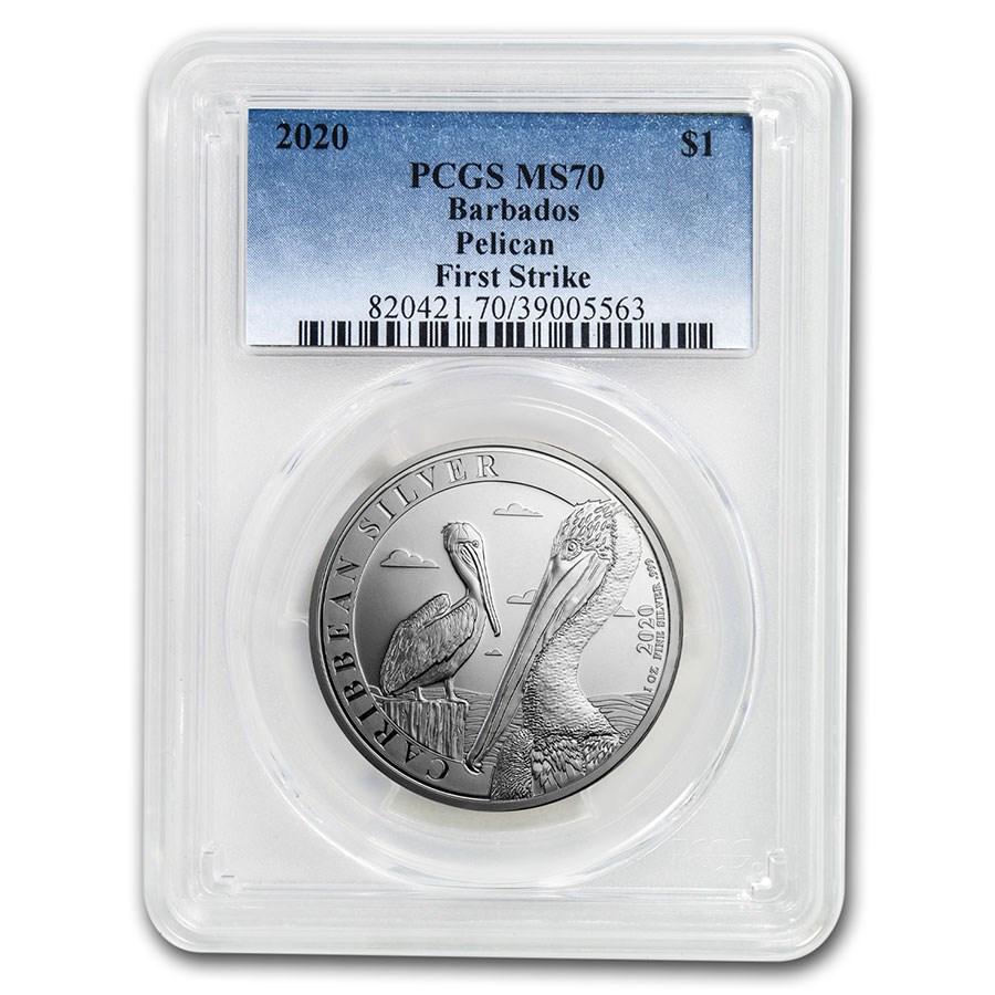 2020 Barbados 1 oz Silver Caribbean Pelican MS-70 PCGS (FS)