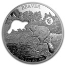 2020 Barbados 1 oz Silver Shapes of America (Beaver)