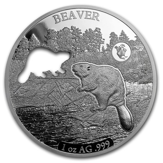 2020 Barbados 1 oz Silver Shapes of America (Beaver)