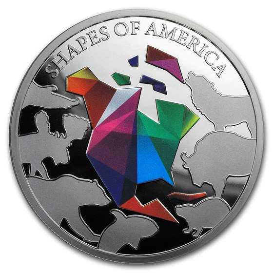 2020 Barbados 1 oz Silver Shapes of America (Colored)
