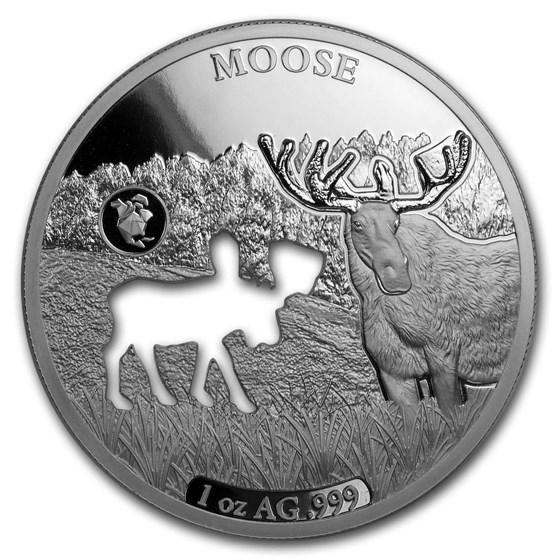 2020 Barbados 1 oz Silver Shapes of America (Moose)