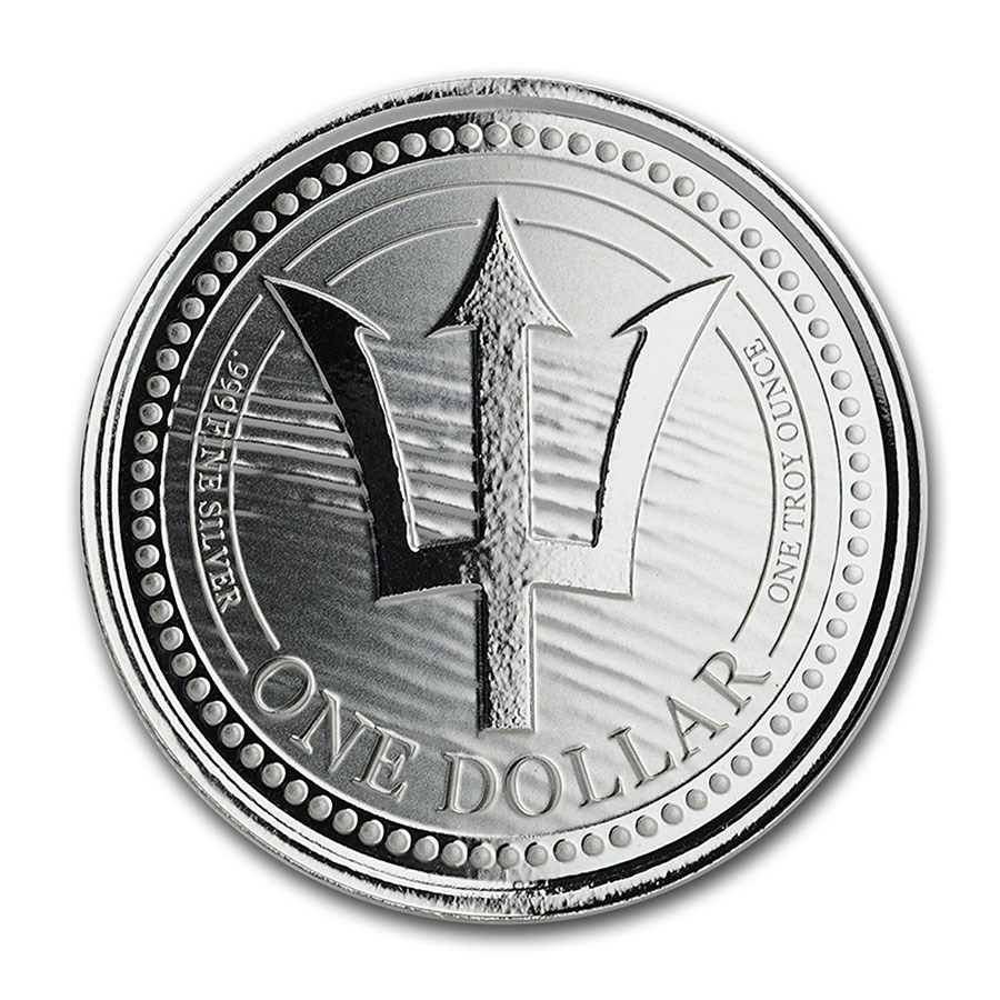2020 Barbados 1 oz Silver Trident BU