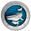 2020 Barbados 3 oz Silver Antique Underwater World (Blue Whale)