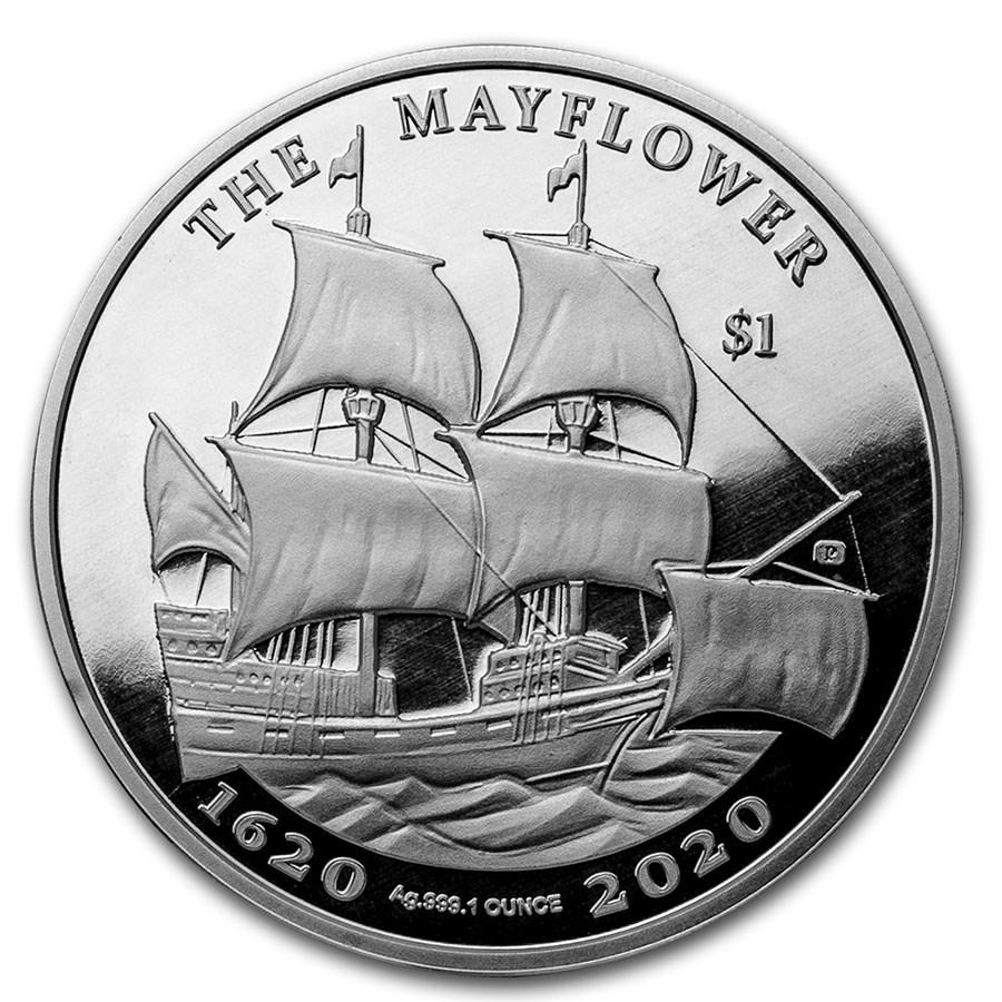 2020 BVI 1 oz Silver Mayflower 400th Anniversary PU