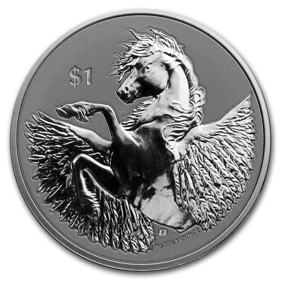 2020 BVI 1 oz Silver Pegasus Reverse Cameo BU