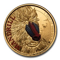 2020 Cameroon 1 oz Gold Mandrill Proof (Colorized)