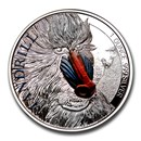 2020 Cameroon 1 oz Silver Mandrill Proof (Colorized)