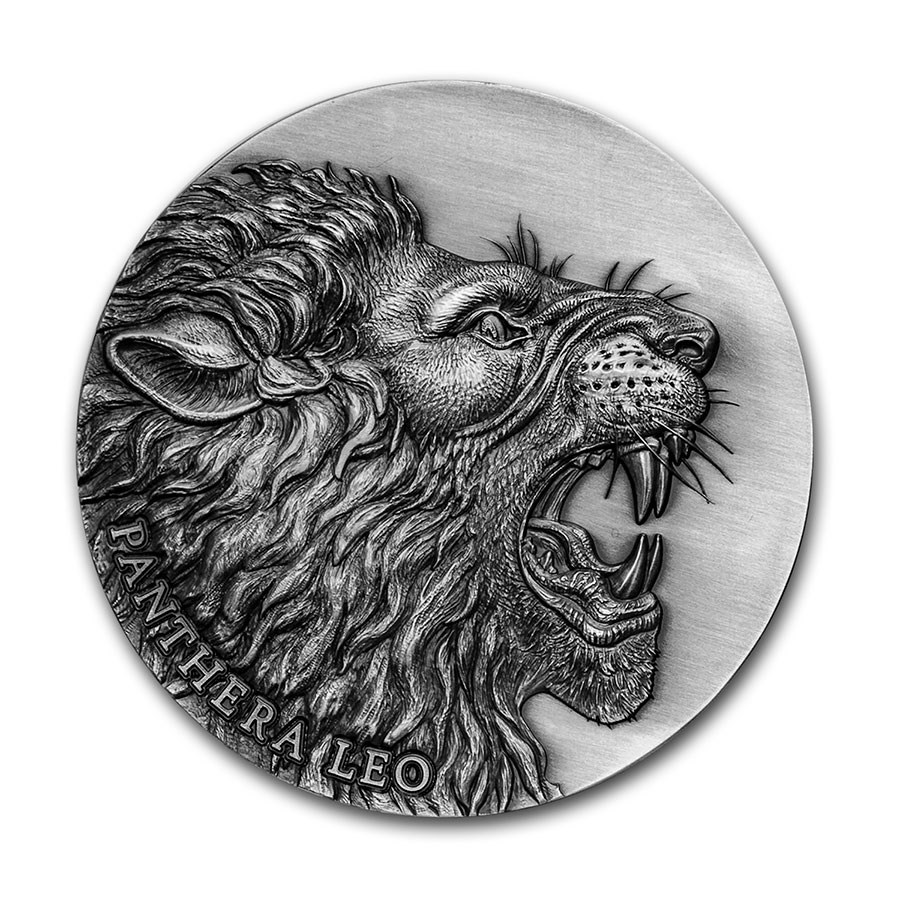 2020 Cameroon 2 oz Silver Expressions of Wildlife; Panthera Leo