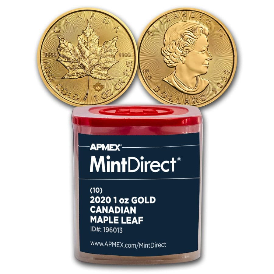 2020 Canada 1 oz Gold Maple Leaf (10-Coin MintDirect® Tube)