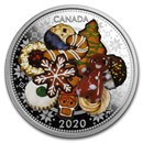 2020 Canada 1 oz Silver $20 Holiday Cookies (Murano Glass)