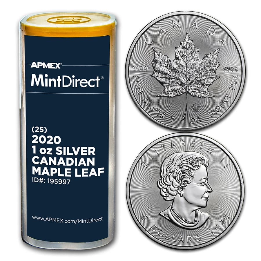 2020 Canada 1 oz Silver Maple Leaf (25-Coin MintDirect® Tube)