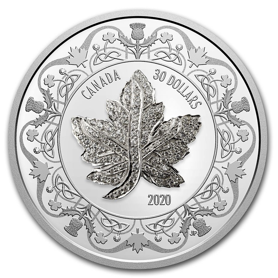 2020 Canada 2 oz Silver $30 Canadian Maple Leaf Brooch Legacy
