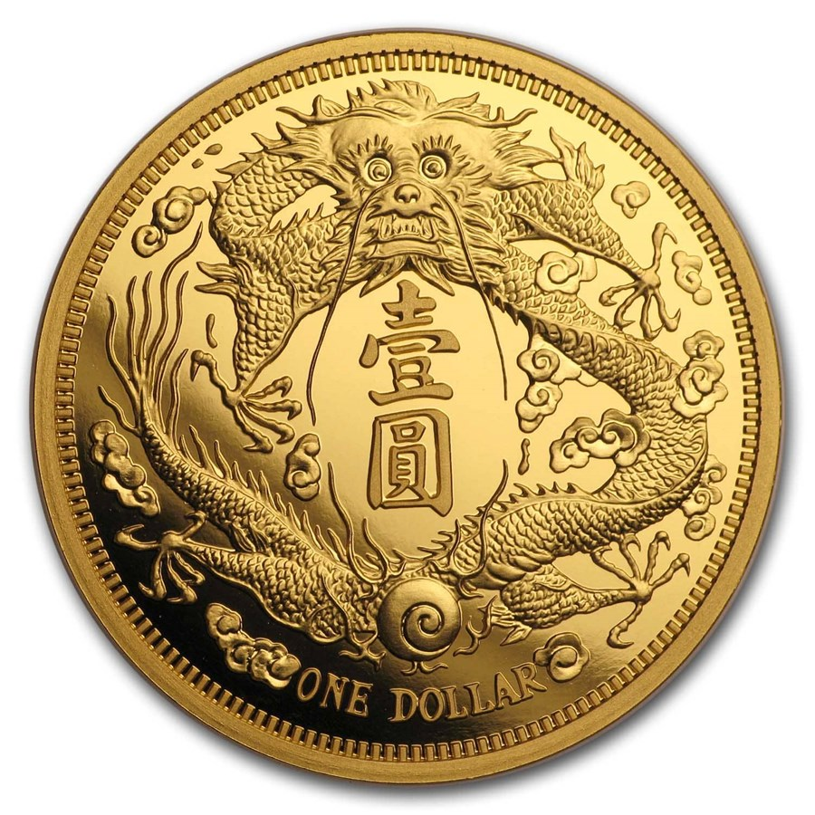 2020 China 1 oz Gold Long-Whiskered Dragon Dollar Restrike (PU)