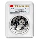 2020 China 30 gram Silver Panda MS-70 PCGS (FDI, Flag Label)