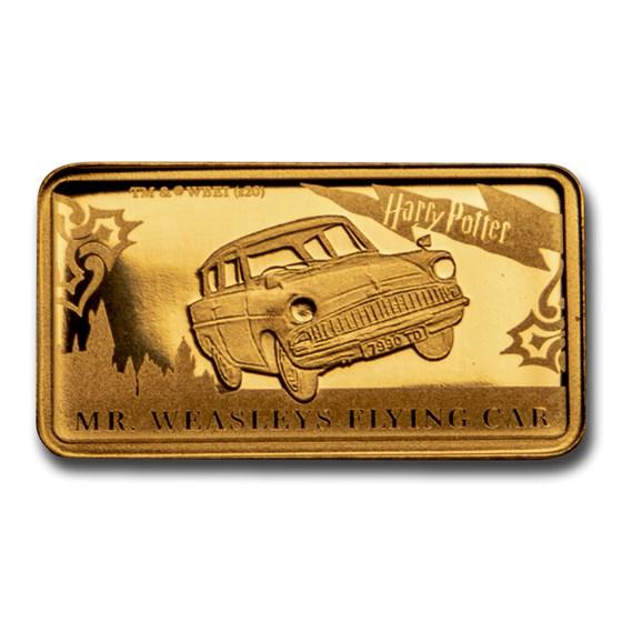 2020 Cook Islands 1/2 Gram Gold Harry Potter Ingot (Flying Car)