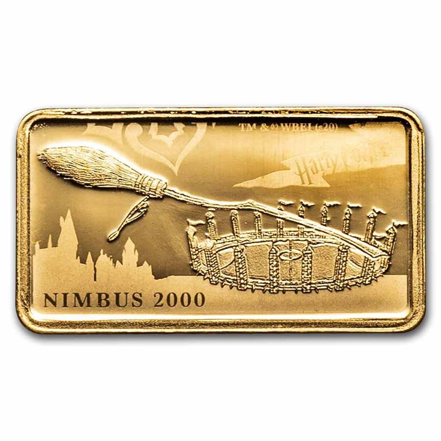 2020 Cook Islands 1/2 Gram Gold Harry Potter Ingot (Nimbus 2000)