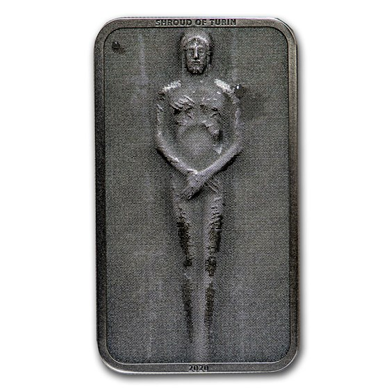 2020 Cook Islands 1 oz Antique Silver Shroud of Turin